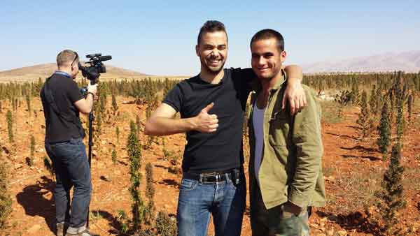 VICE's Oz Katerji poses with cannabis farmer in Lebanon | Source: ozkaterji.wordpress.com