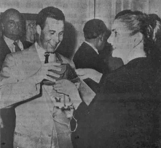 First Lady Zalfa Chamoun gives Lebanon, Nebraska representative, Charles Harris, a cedrus libani sapling.   Source: LebanonUSA